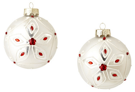 Box of 2 Snowflake Bead Ornaments, Red